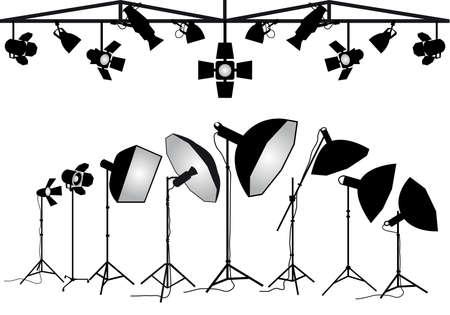 Illustration pour Photo studio lighting equipment, set of vector design elements - image libre de droit