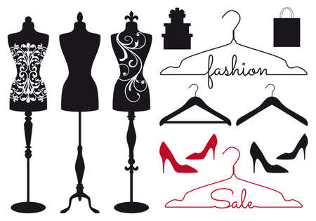 Photo pour Mannequin, tailors dummy, clothes hanger, shoes, vector set for fashion shops - image libre de droit
