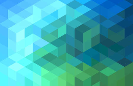 Illustration pour abstract green blue geometric vector background, cube pattern - image libre de droit