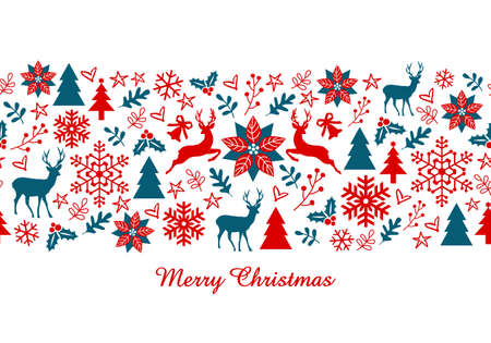 Christmas card, Xmas banner with seamless pattern, vector illustration