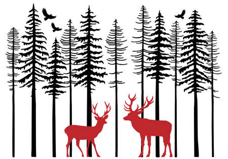 Illustration pour Fir tree forest with reindeer, Christmas card, vector illustration - image libre de droit