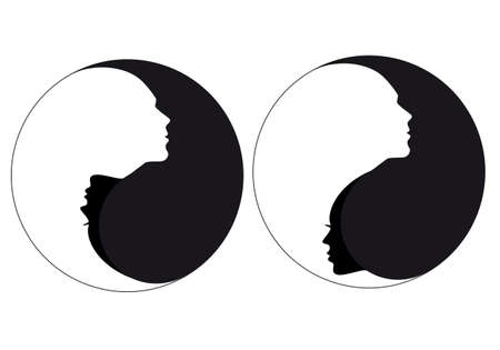Illustration pour Yin yang symbol with man and woman - image libre de droit