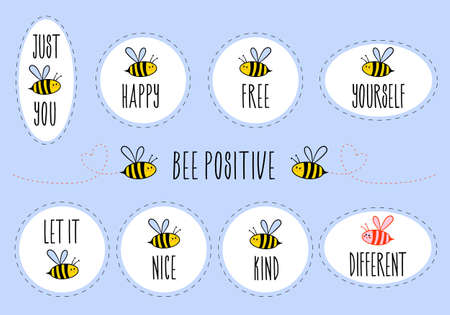 Ilustración de Motivational stickers with quotes, be happy, be free, be yourself, be kind, be different, set of vector graphic design elements - Imagen libre de derechos