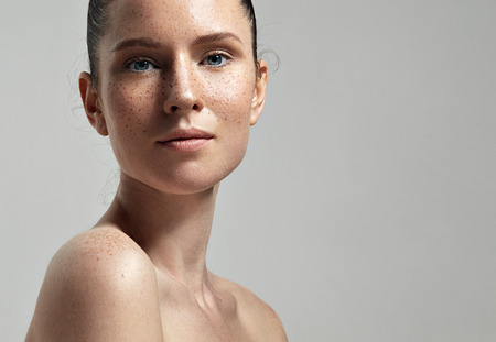 Photo for freckles woman's face portrait with healthy skin - Royalty Free Image