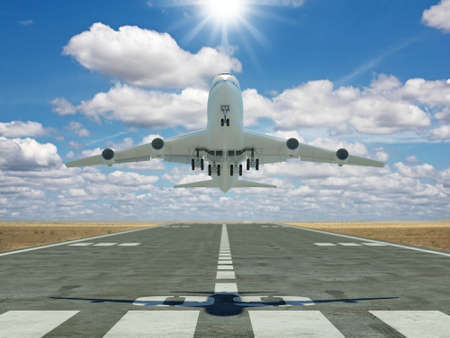 Photo pour Very high resolution 3d rendering of an airplane taking off - image libre de droit