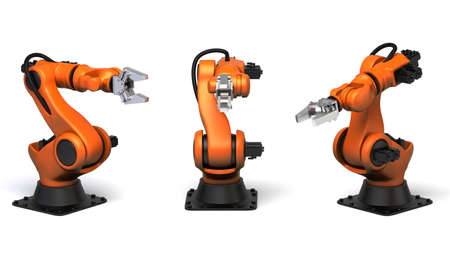 Photo pour Very high resolution 3d rendering of three industrial robots. - image libre de droit