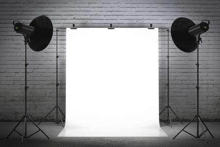 Photo for Professional strobe lights illuminating a backdrop - Royalty Free Image