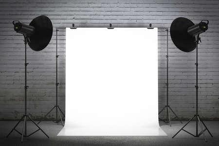 Photo pour Professional strobe lights illuminating a backdrop - image libre de droit