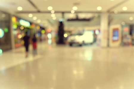 blurred image of shopping mall and people, in department store