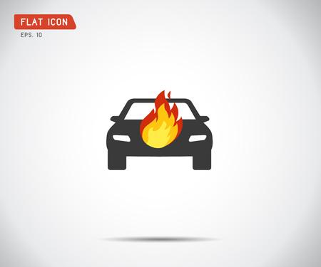 Illustration pour car fired Vehicle insurance Icon. Flat pictograph Icon design, Vector illustration - image libre de droit