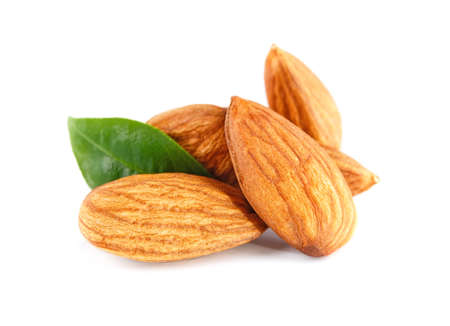 Photo for Almonds nuts isolated on white - Royalty Free Image