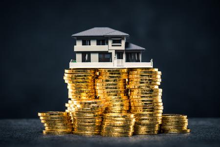 Photo pour A large amount of money and house model - image libre de droit