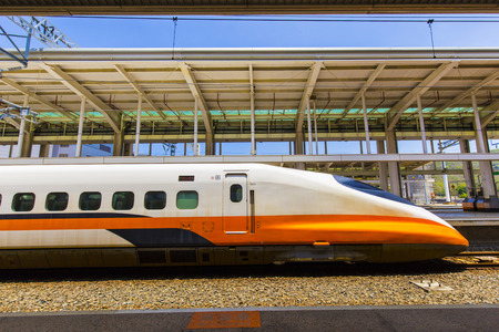 Photo pour kaohsiung,taiwan - May 11,2018 : Taiwan High Speed Rail is a high-speed rail line that runs approximately 349.5 km, along the west coast of Taiwan. - image libre de droit