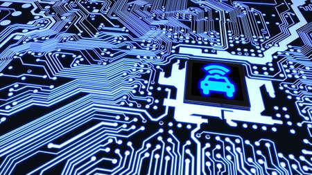 Photo pour Blue circuit board closeup connected to a cpu with a glowing car wifi symbol on top smart vehicle concept 3D illustration - image libre de droit