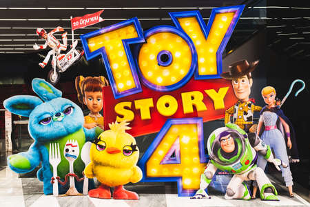 Foto de Bangkok, Thailand - Jun 17, 2019: Toy Story 4 movie backdrop display with cartoon characters in movie theatre. Cinema promotional advertisement, or film industry marketing concept - Imagen libre de derechos