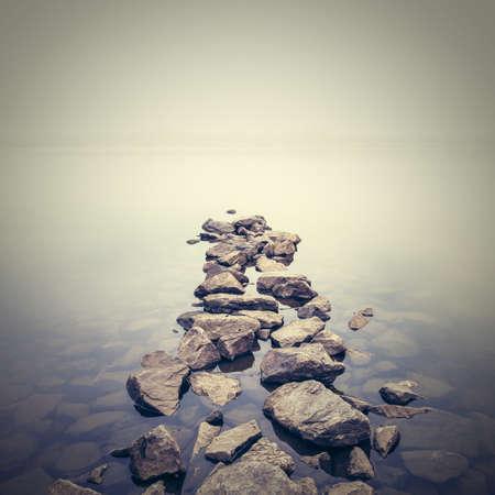 Photo pour Minimalist misty landscape. Ukraine. - image libre de droit