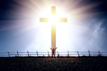 Photo pour The concept of a believer in Christ is a victory. - image libre de droit