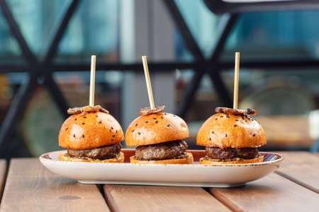 Photo pour Small burgers served on one plate as appetizers and decorated with truffles - image libre de droit