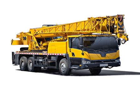 Foto de Truck Crane. Isolated object on a white background. (all logos, inscriptions and markings removed) - Imagen libre de derechos