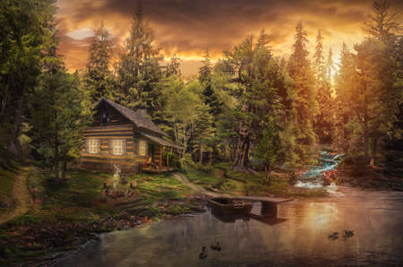 Photo pour Forester's Cabin by the river in the forest (illustration of a fictional situation, in the form collage of photos) - image libre de droit