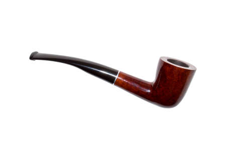 Photo for Smoking pipe made of wood isolated on white background. - Royalty Free Image