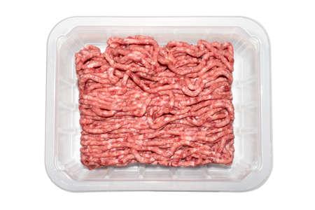 Foto de Minced meat in a transparent plastic container. - Imagen libre de derechos