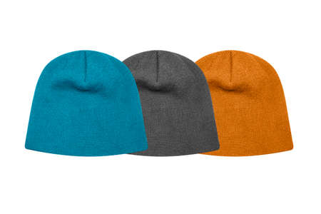 Photo pour Knitted hat isolated on white background.Winter knitted hat. - image libre de droit