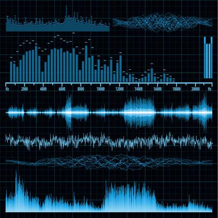 Illustration pour Sound waves set  Music background   - image libre de droit