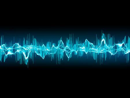 Ilustración de Bright sound wave on a dark blue background. - Imagen libre de derechos