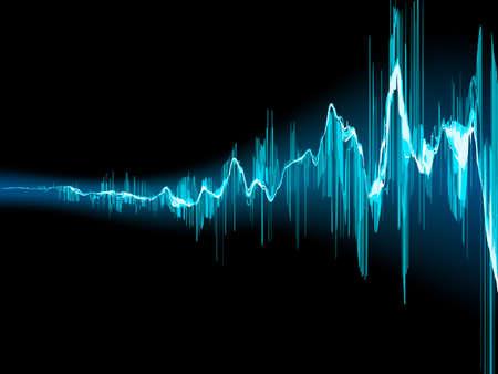 Ilustración de Bright sound wave on a dark blue background  - Imagen libre de derechos
