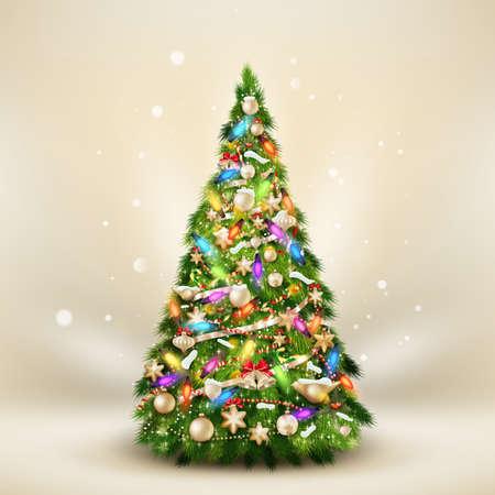 Illustration pour Christmas fir tree on elegant beige.  - image libre de droit