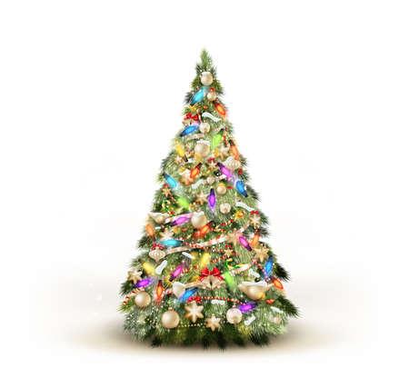 Illustration for Christmas tree isolated on white background.   - Royalty Free Image