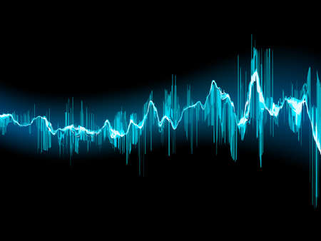 Ilustración de Bright sound wave on a dark blue background. EPS 10 vector file included - Imagen libre de derechos