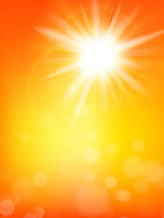 Illustration pour Summer background with a summer sun burst with lens flare.    - image libre de droit