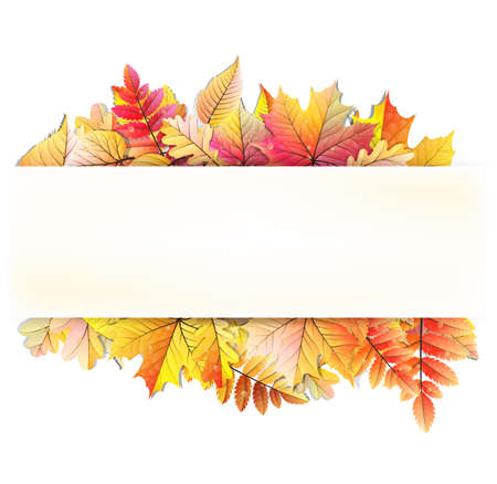 Illustration pour Autumn frame with fall leaf.  - image libre de droit