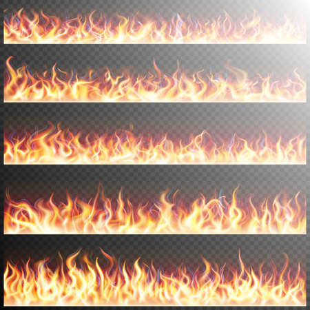 Illustration for Set of realistic fire flames on transparent background. Special effects. Translucent elements. Transparency grid. EPS 10 vector file included - Royalty Free Image