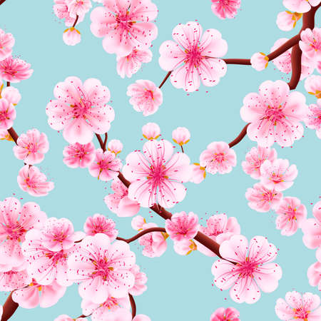 Ilustración de Seamless background pattern of pink Sakura blossom or Japanese flowering cherry symbolic of Spring in a random arrangement square format suitable for textile. EPS 10 vector file included - Imagen libre de derechos