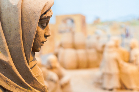 Photo for Sand virgin mary statue in Christmas crib close up - Royalty Free Image
