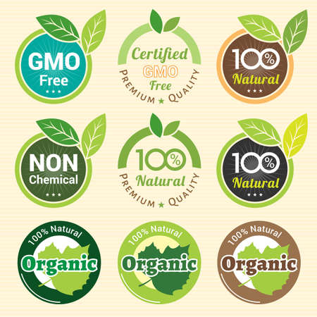 Illustration for GMO Free Non GMO and organic guarantee tag label emblem sticker for plant fruits and vegetable - Royalty Free Image