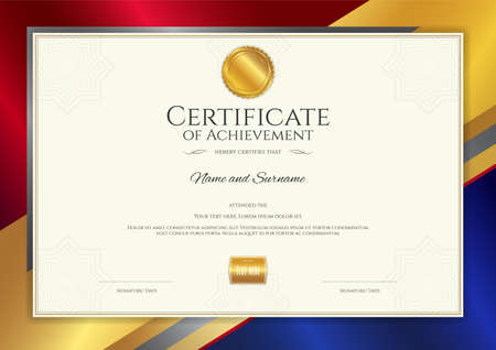 Illustration pour Luxury certificate template with elegant border frame, Diploma design for graduation or completion - image libre de droit