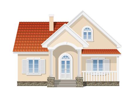 Ilustración de suburban house with a red tile roof - Imagen libre de derechos