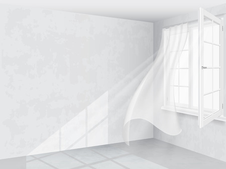 Illustration for Window and curtains in bright interior - Royalty Free Image
