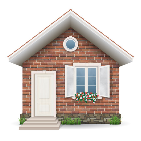 Ilustración de Small brick residential house with a window, door, grass and flower pots. - Imagen libre de derechos