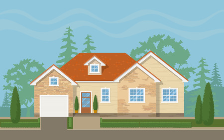 Ilustración de Traditional suburban house with the environment (sky,trees, lawn). Vector flat illustration. - Imagen libre de derechos