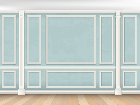 Illustration pour Blue wall interior in classical style with pilasters and moldings. Architectural background. - image libre de droit
