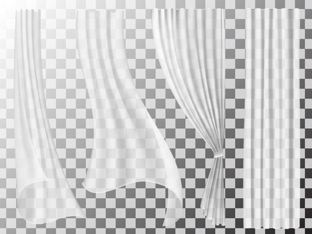 Illustration pour Set of transparent curtains different forms. Waving in the wind and hanging curtains for the window decoration. - image libre de droit