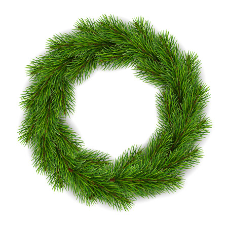 Illustration pour Realistic Christmas wreath for greeting card design. - image libre de droit