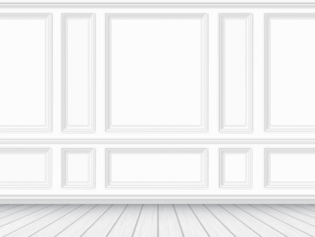 Illustration pour Classic interior of the living room. Parquet floor and white wall decorated with moulding panels. Vector detaled realistic illustration. - image libre de droit