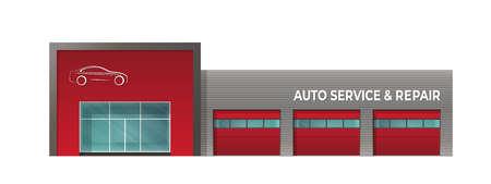 Illustrazione per The building of  car service repair. Isolated image on white background - Immagini Royalty Free