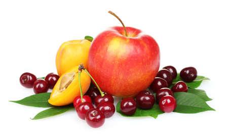 Photo for tasty summer fruits isolated on white - Royalty Free Image
